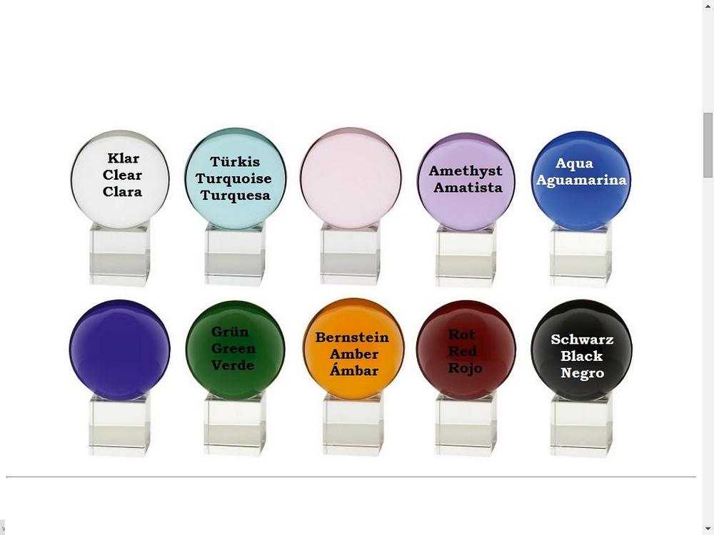 Aktuelle Farben der Kristallglaskugeln