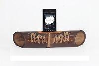 """Altavoz artesanal con tallado """"Notas musicales"""". Altavoces artesanales de bambú"""