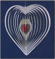 Mobile-Spirale Herz mit Kristall Herz - Wind Mobile und Spiralen