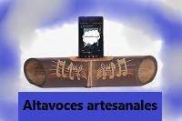 altavoces de bambú tallados para móviles