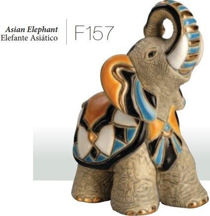 Familia de elefantes asiáticos - DeRosa Rinconada Elefante asiático, F157
