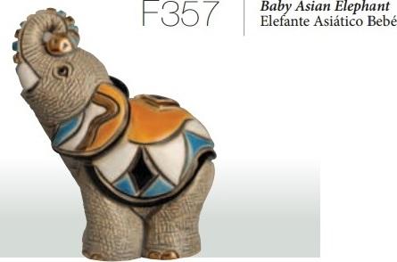 Familia de elefantes asiáticos - DeRosa Rinconada Elefante asiático bebé, F357