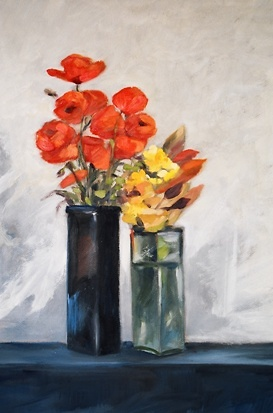 Carla Monti - Fiori in due vasi - Flowers in two vases.