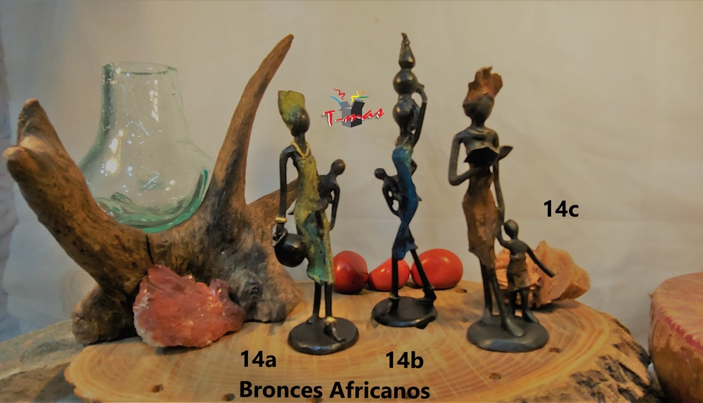 Mujeres con cántaros y niños - Bronces Africanos