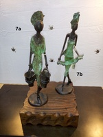 "African Bronzes - ""Woman with two Pails"" and ""Woman with cloth"""