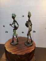 """Afrikanische Bronzefiguren - """"Frau mit Kind an der Hüfte"""" und """" Frau mit Wasserkrug und Kind """""""