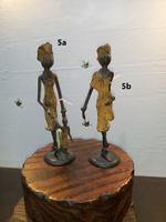 """Afrikanische Bronzefiguren - """" Frau mit Kind """" und """" Frau unterwegs """""""