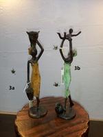 """Afrikanische Bronzefiguren - """"Frau mit zwei Wasserkrügen"""""""