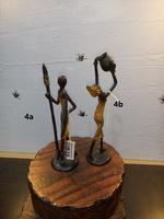 """Bronces Africanos - """" Nativo con lanza y escudo"""" y """"Mujer con cántaro alzado"""""""