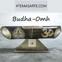 "Handmade speaker with carving ""Bhuda / Ohm"" - Handmade bamboo speakers."