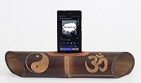 "Handmade speaker with carving ""Yin yang / Om"" - Handmade bamboo speakers."