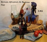 """""""Mujer y niño sentados leyendo"""". Bronces Africanos"""